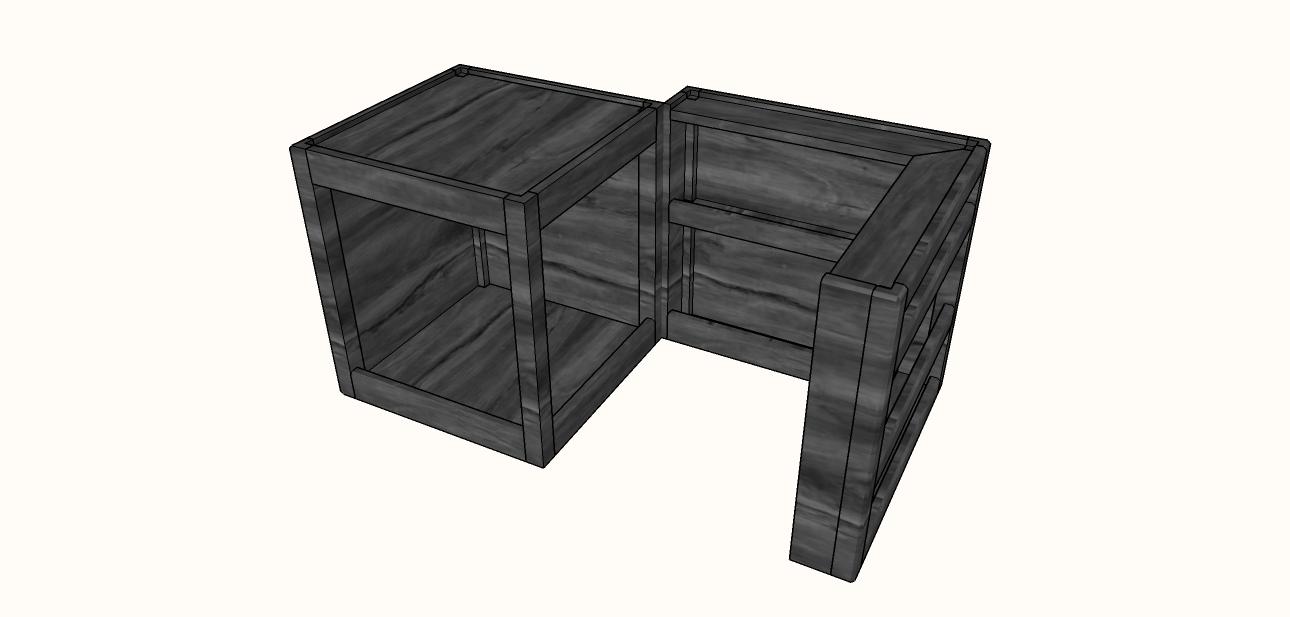Cube Bar en pin massif table basse - Mesa de sala em pinho maciço