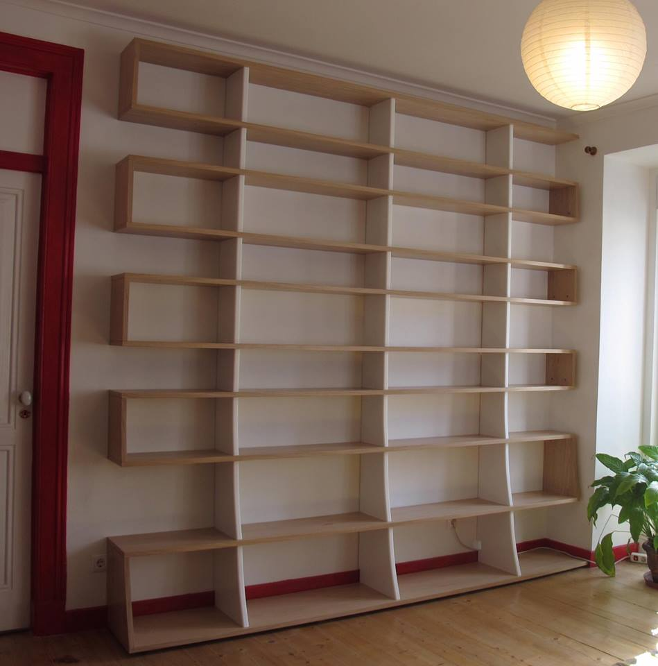 Estante de sala em carvalho - Bibliothèque de salon en chaîne massif