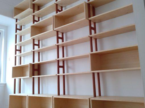 Bibliothéque en bouleau et jatoba