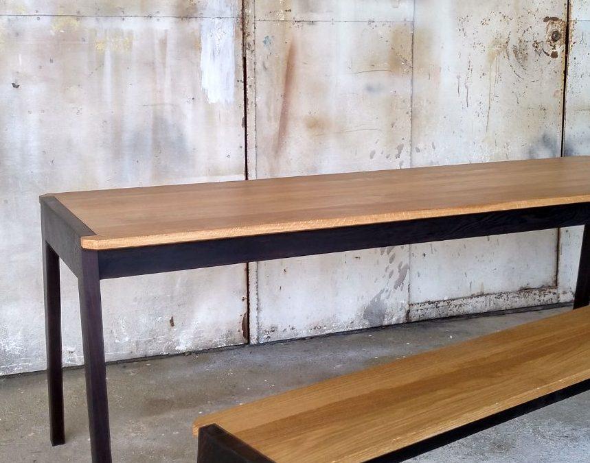 Table basse et bancen chêne et wengué