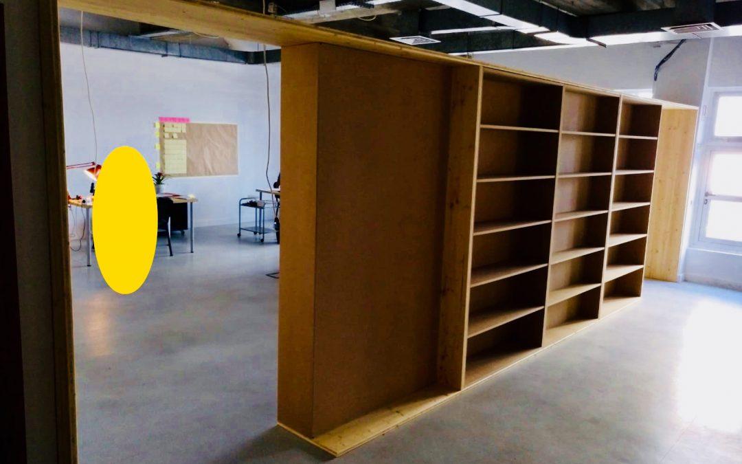 Bibliothèque de séparation en triple couche et MDF