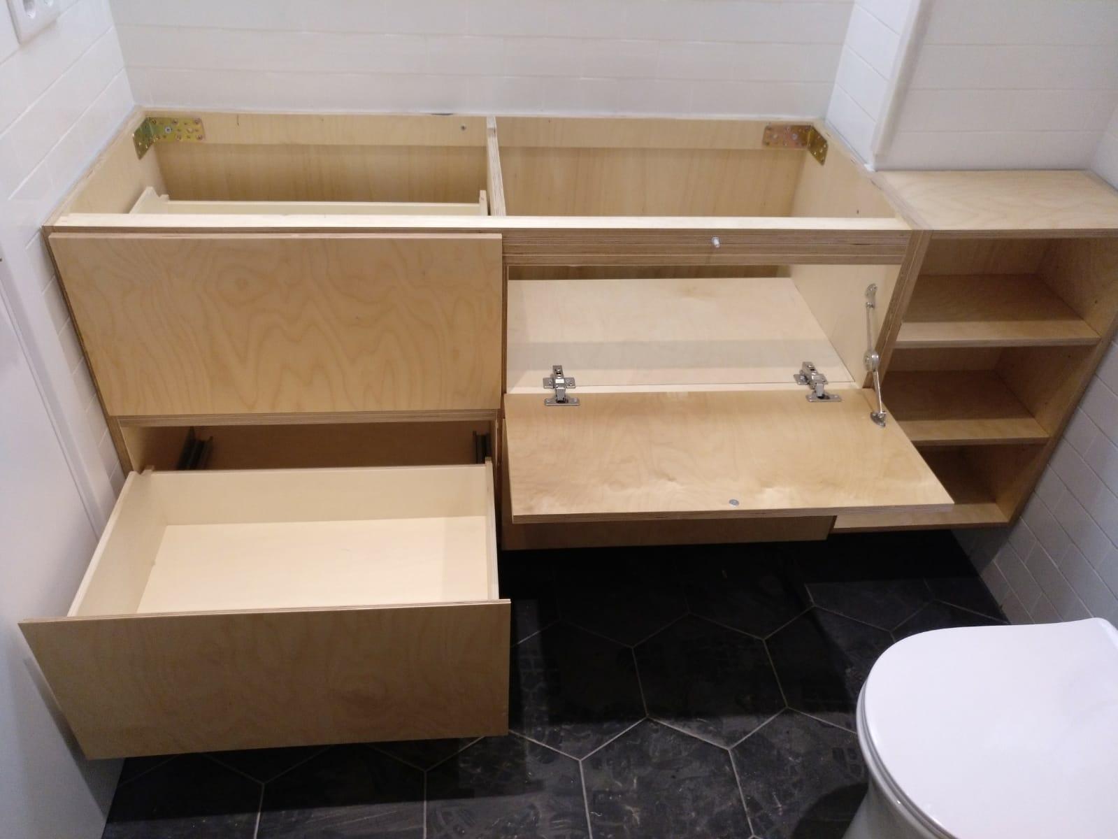 Móvel bétula para lavatório de casa de banho - Meuble sous-vasque, meuble lavabo en bouleau pour salle de bain
