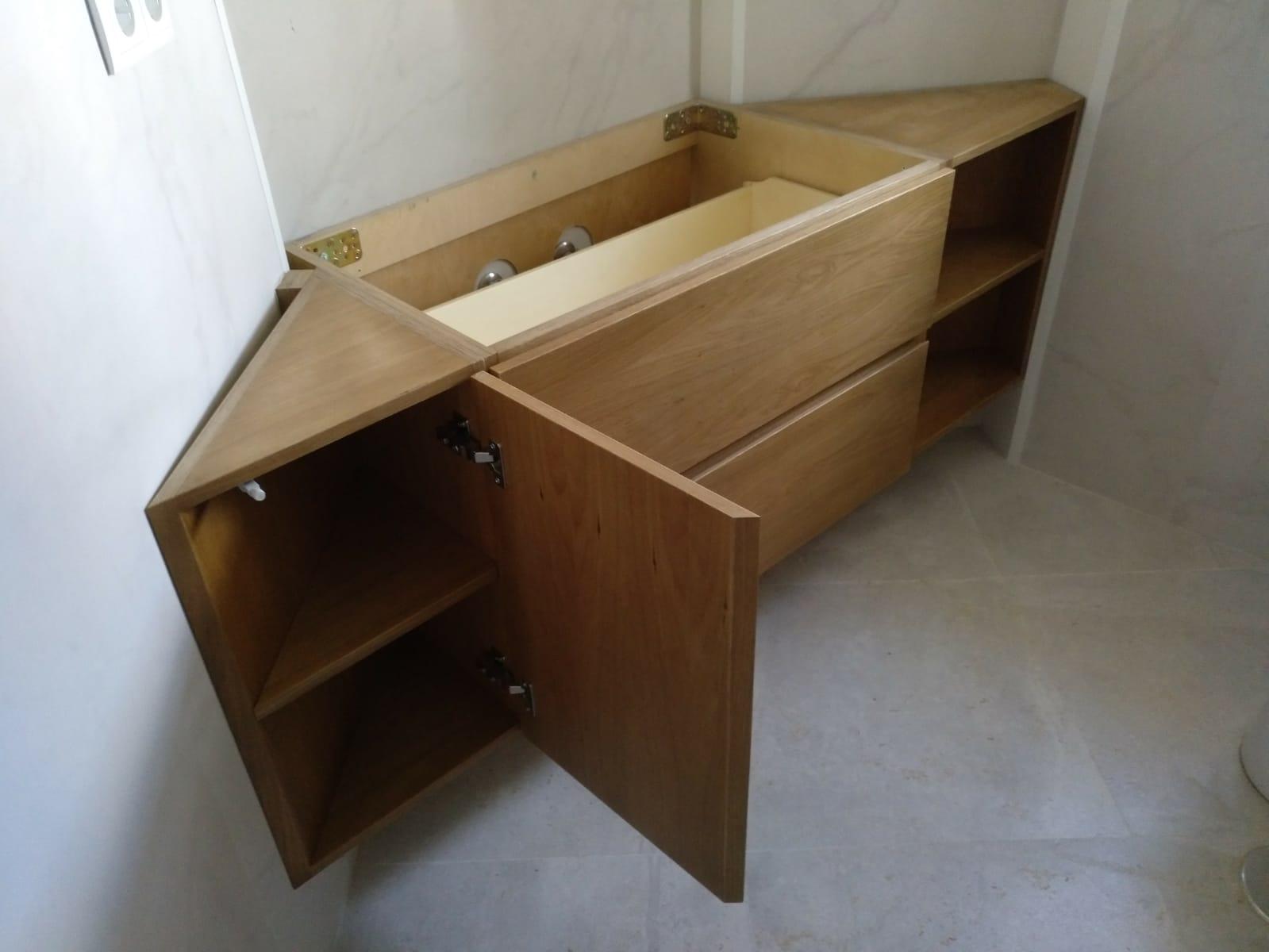 Móvel lavatório de canto de carvalho - Meuble sous-vasque d'angle en chêne