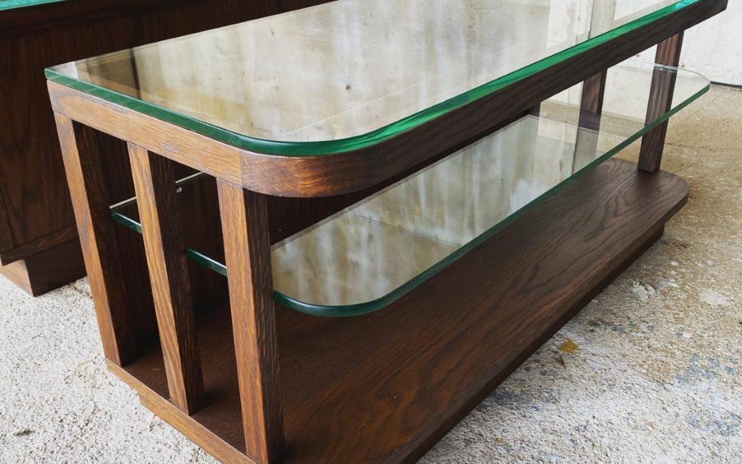 Mesas apoio carvalho e vidro